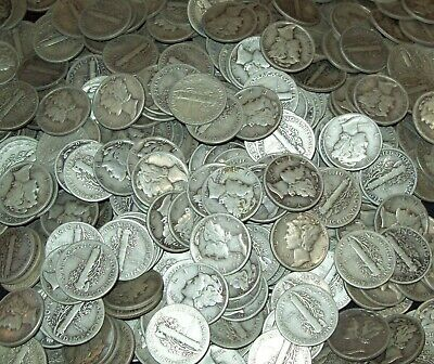 1916-1945 90/% Silver Roll of Mercury Dimes 50ct $5 Face Value Average Circulated