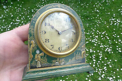 Antique/Vintage Edwardian 8-day Chinoiserie mantel/bracket clock Green Lacquer