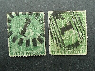 Barbados Britannia Early Classic Pair Of Green Stamps - Used - See!