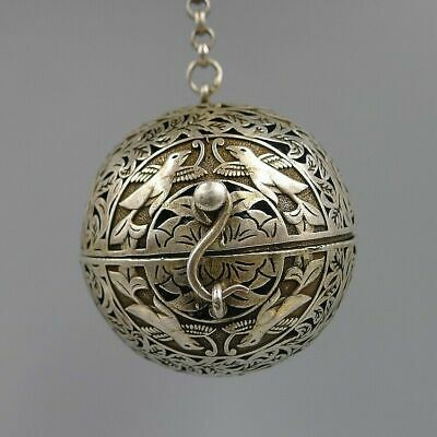Incense Burner Crafts Fragrant Smoked Balls Antique Silver Built-in Gyroscope