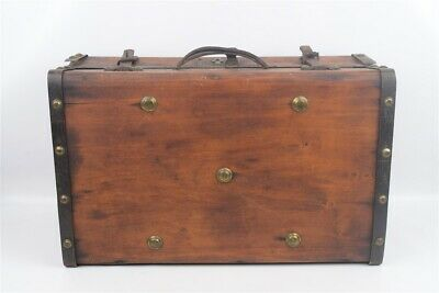 Antique Primitive Riveted Wood & Iron Suitcase Paper Lined Interior Rustic
