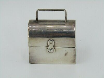 Vintage Sterling Silver Lunchbox / Toolbox Motif Pill Box Made in Portugal