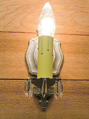 Vintage Wall Sconce Antique Light Fixture Restored Silver Nickel Crystals 1930s