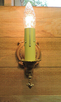 Vintage Wall Sconce Shabby Chic Off White Sepia Antique Light Fixture 1940s