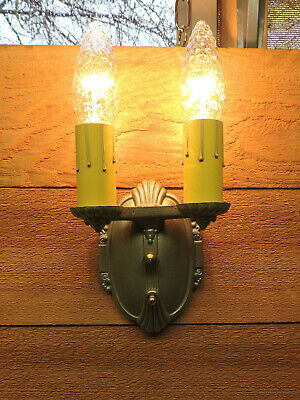 Vintage Wall Sconce RIDDLE CO #1665 Silver Nickel Antique Light Fixture 1930s