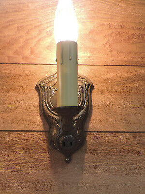 Vintage Wall Sconces Pair Bronze Antique Light Fixtures Restores 1930s 1414