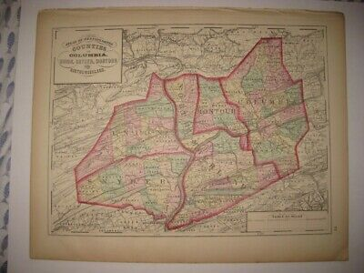 Antique 1872 Northumberland Columbia Snyder Montour County Pennsylvania Map Rare