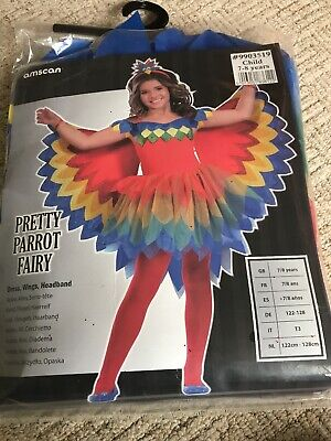 NEW Childs Pretty Parrot Fairy Dress Up World Book Day Costume 7-8yrs BNIP Girls