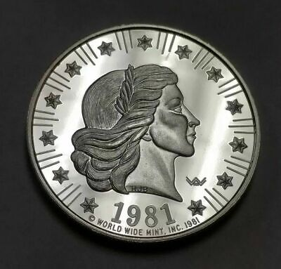 1981 World Wide Mint 1 oz 999 Silver Proof American Eagle Round Liberty Head