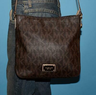 df1c908df4b6 MICHAEL KORS Brown Signature MK Coated Canvas Leather Crossbody Tote Purse  Bag