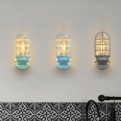 Farmhouse Rustic Metal Cage Glass Shade Wall Light Sconces Nautical Wall Lamp