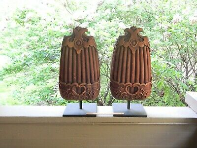 """Large Pair Antique 18th 19th Century Asian Japanese Wood Sculpture Carvings 29"""""""