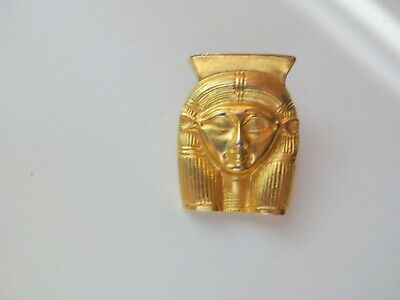 Vtg Signed MMA Revival Figural Egyptian Gold Plated Pharaoh Pendant Brooch Pin