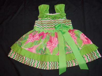 Mud Pie Baby Girls 9-12M Pink & Green Floral Big Bow Keyhole Dress 9-12 Months