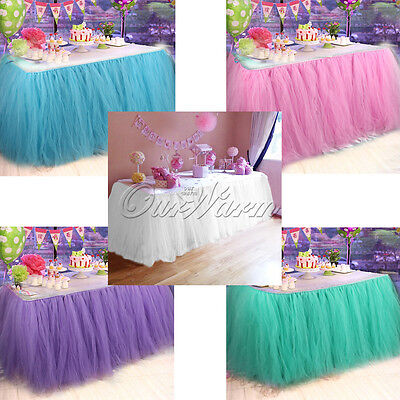Tulle TUTU Table Skirt Tableware Cloth Cover Baby Shower Birthday Party Decor