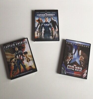 Captain America: 1 2 3 DVD First Avenger + Winter Soldier + Civil War US seller