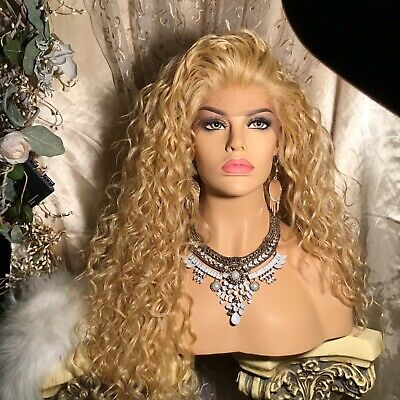"""AWESOME  32"""" Spiral Curly LONG GOLDEN BLONDE, Lace Front With Multi Style, Wig!"""