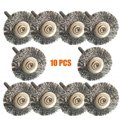 10Pc Stainless Steel Wire Brush Removal Wheel Set for Dremel Grinder Rotary Tool