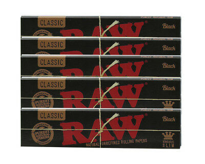 RAW Black Classic King Size Slim - 10 PACKS - Rolling Papers Ultra Thin Pressed