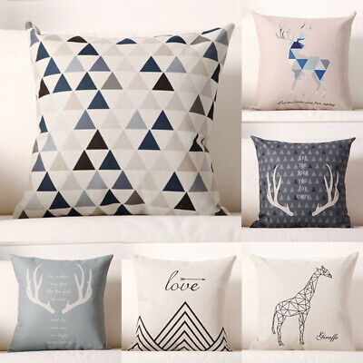 Nordic Geometry Deer Cotton Linen Throw Pillow Case Cushion Cover Home Decor