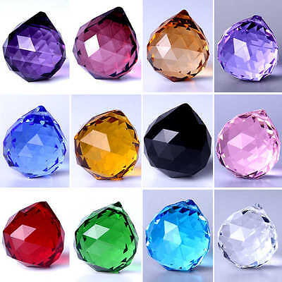 Feng Shui Hanging Crystal Ball Sphere Prism Faceted Chandelier Lamp Part Pendant