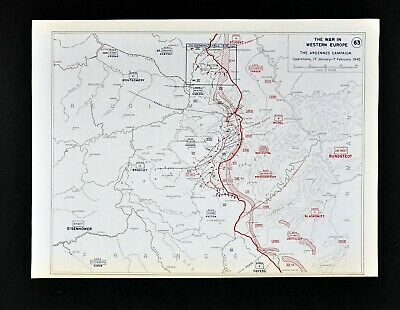 West Point WWII Map Ardennes Campaign Battle of the Bulge German Retreat 1945