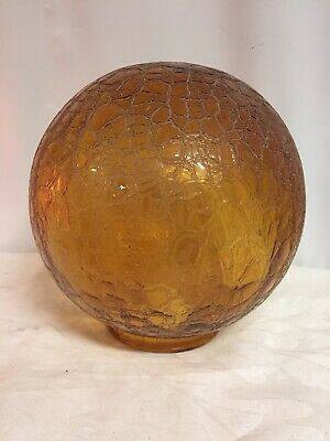Vtg Large Amber Glass Swag Lamp Light Shade Round Globe Ceiling Crackle Pattern