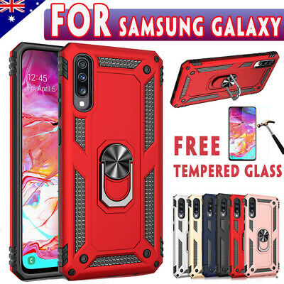 For Samsung Galaxy A20 A30 A50 A70 Shockproof Case Rugged Cover+Tempered Glass
