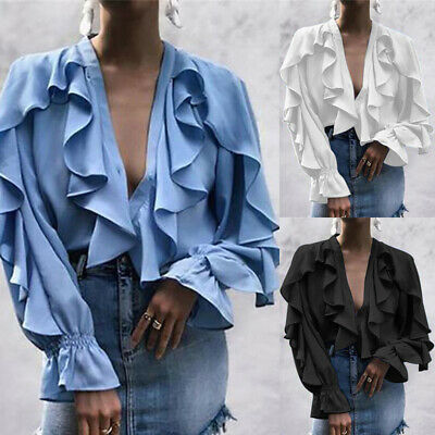 2a883689da6 Womens Long Sleeve V Neck Frill Tops Asymmetric Ruffle Plunge Party Shirt  Blouse