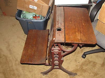 Vintage Elementary School Wood Desk Iron Legs With foldouts and inkwell Brooklyn
