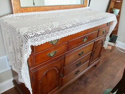 "Cotton Lace Mantle Buffet Table Runner Dresser Scarf Bird Motif 24"" by 100"" LONG"