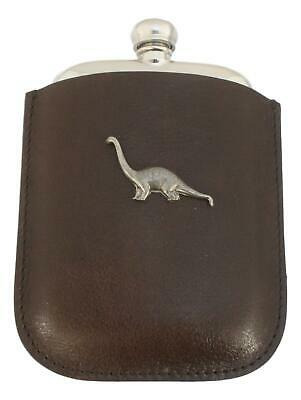 Diplodocus Pewter 4oz Kidney Hip Flask In Leather Pouch FREE ENGRAVING 104