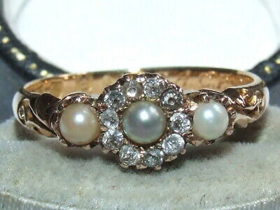 V Scarce Late Victorian c1890 Solid 18ct Gold Pearl & Diamond Locket Back Ring