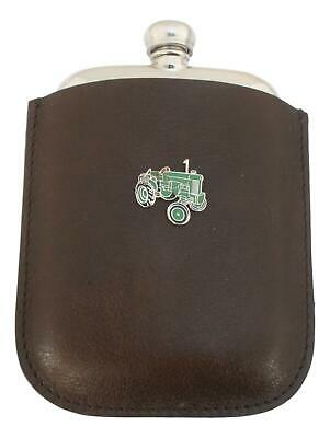 Green Tractor Enamel Pewter 4oz Hip Flask In Leather Pouch FREE ENGRAVING 161