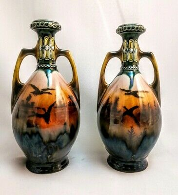 "Antique Pair Of 19th Century Lustre Vases With Handles 8.25"" Tall"