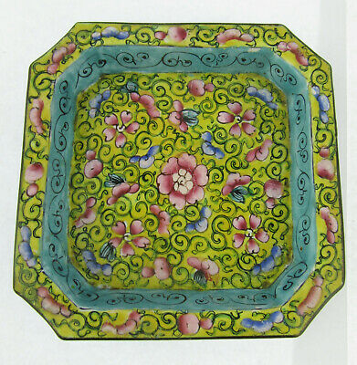 Chinese Canton Enamel Yellow Ground Pink & Blue Floral Painted Square Dish