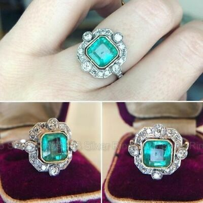 Vintage Art Deco 2 Ct Green Emerald In 14K White Gold Over Retro Engagement Ring