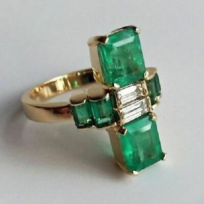 Antique 4.0Ct Green Emerald Vintage Art Deco Engagement Ring 14K White Gold Over