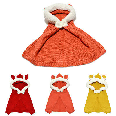 FJ- HK- Winter Baby Rabbit Ears Knitted Hat Cap Toddler Warm Hooded Bowknot Cape