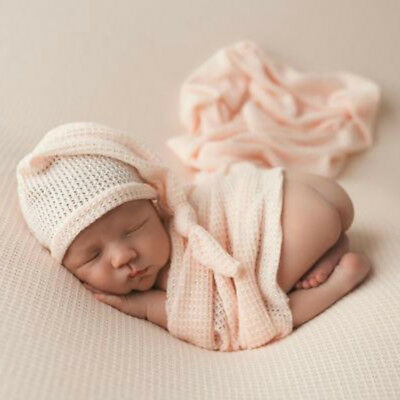 FJ- 2Pcs Newborn Baby Soft Knitted Wraps Long Tail Cap Studio Photography Props