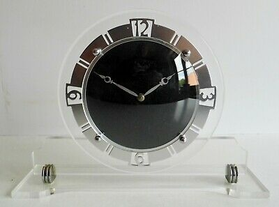 STUNNING OLD 1930's LUCITE ART DECO CLOCK - MADE IN GT. BRITAIN - FULLY WORKING