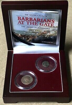 EGYPT-Destruction of the Library of Alexandria-Barbarians at the Gate-2 Coin Set