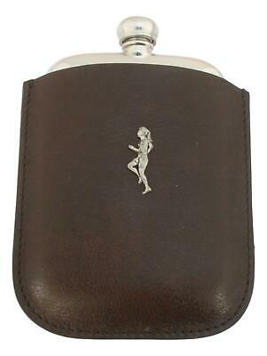 Lady Runner Pewter 4oz Kidney Hip Flask In Leather Pouch FREE ENGRAVING 209