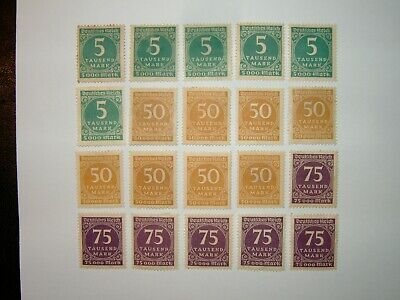 1923 GERMANY 5,000M, 50,000M & 75,000M STAMPS MINT HINGED x 20 (sg312/4)