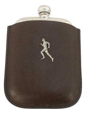 Male Runner Pewter 4oz Kidney Hip Flask Leather Pouch FREE ENGRAVING 226