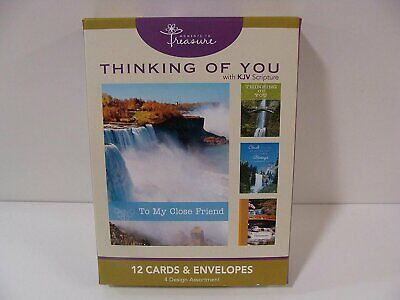 Boxed Cards: Thinking of You with KJV Scripture-Waterfalls