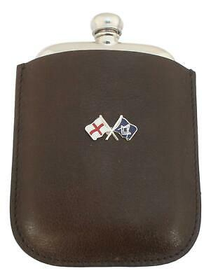 Masonic England Pewter 4oz Kidney Hip Flask Leather Pouch FREE ENGRAVING 233