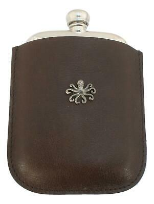Octopus S Pewter 4oz Kidney Hip Flask Leather Pouch FREE ENGRAVING 249