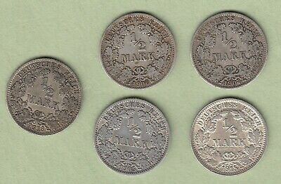 Lot of 5 Germany 1/2 Mark Silver Coins -