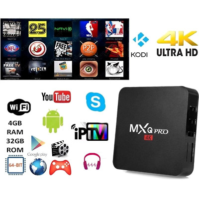 MXQ PRO 4K RAM 4GB Smart IPTV BOX XBMC Android 7.1 64bit 32GB WiFi MiniPC